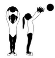 children silhouettes girl playing with ball in vector image