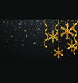christmas background with gold snowflakes vector image