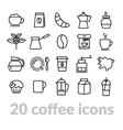 collection coffee line icons vector image vector image