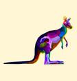 colorful kangaroo on pop art style vector image