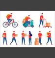express delivery service on scooter and bike vector image