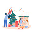 family decorates a christmas tree and fireplace vector image vector image