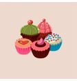 Five Cupcakes Set vector image