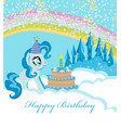 frame with unicorn and birthday cake vector image