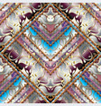 geometric striped floral seamless pattern vector image