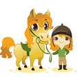 Girl Stand with Small Horse vector image vector image