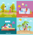 girls friendship orthogonal concept vector image