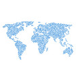 global map pattern of jellyfish icons vector image