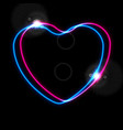 glowing neon blue and pink hearts abstract vector image