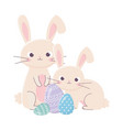 happy easter day rabbits and decorative eggs vector image vector image