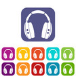 headphones icons set flat vector image vector image
