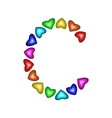Letter C made of multicolored hearts vector image
