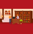 library flat composition vector image