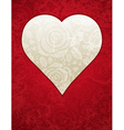 lovely red heart with roses vector image vector image