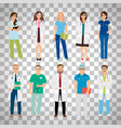 medical team workers on transparent background vector image vector image