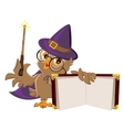 Owl bird in Halloween costume holding open book vector image vector image