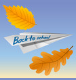 paper airplane with the inscription back to school vector image vector image