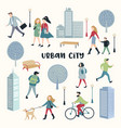 people walking on street urban city vector image