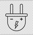 plug icon in line style power wire cable flat vector image vector image