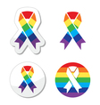 Rainbow flag ribbon - symbol of gay pride vector image vector image