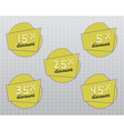 Sale stickers and labels with Sale up to 5 - 45 vector image