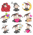 set of cute cartoon donkey vector image vector image