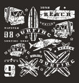 Set of graphic elements bus surfing shark vector image