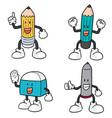set of pen pencil and eraser cartoon vector image vector image