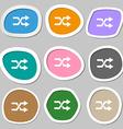 shuffle symbols Multicolored paper stickers vector image
