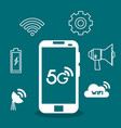 smartphone with connectivity 5g technology vector image