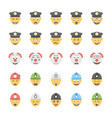 smiley flat icons set 25 vector image vector image