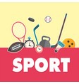 sport concept sports equipment yellow background v vector image vector image