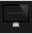 Stylish computer screen on black background vector image vector image