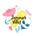summer vibes hand drawn lettering swimsuit vector image vector image