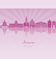 szczecin skyline in purple radiant orchid vector image vector image