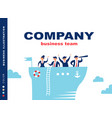 team of people sailing on ship at sea vector image vector image
