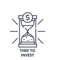 time to invest line icon concept time to invest vector image vector image