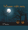 two halloween pumpkin on night forest background vector image