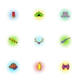 Vacation in forest icons set pop-art style vector image vector image