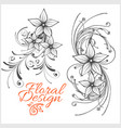 vintage floral design - set isolated on vector image vector image