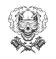 vintage monochrome demon skull with blindfold vector image vector image