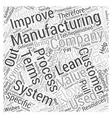 what is lean manufacturing Word Cloud Concept vector image vector image