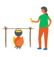 woman cooking soup on fire isolated cooker vector image
