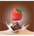 beautiful strawberries chocolate and milk vector image