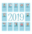 2019 calendar with cute gray cat moments vector image
