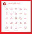 25 vehicle icons vector image vector image