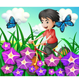 A boy biking in the garden with flowers and vector image vector image