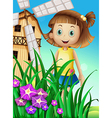 a girl watching flowers in garden near the vector image