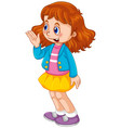 a happy girl character vector image vector image
