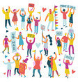 active people parade colored set vector image vector image